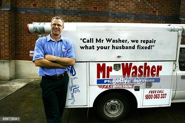 Plumber Tim Cook with his Mr Washer van is one of the many tradesmen reaping the benefits of a shortage of tradespeople 23 November 2005 AFR Picture...