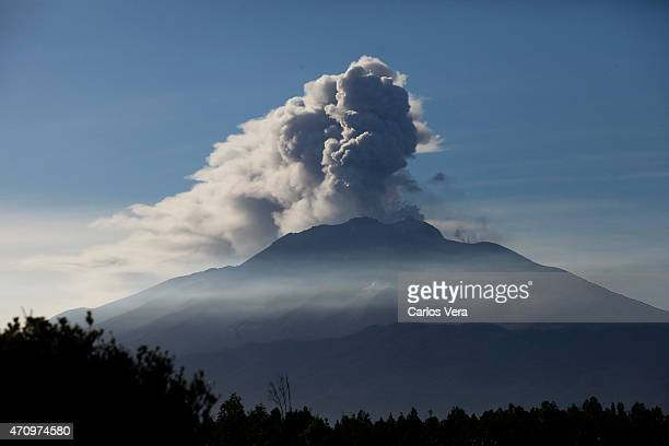 Plumes of smoke and ash billow from the Calbuco volcano are seen from Ensenada on April 24, 2014 in Ensenada, Chile.