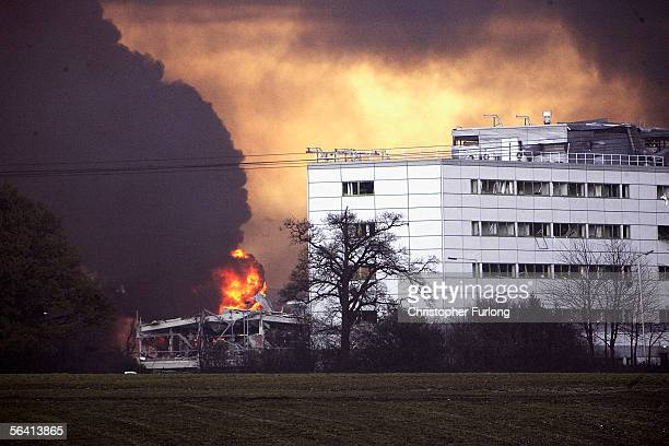 Plumes of smoke rise from Bruncefield oil depot on December 11 2005 in Hemel Hempstead EnglandThe explosions are being treated as accidental...
