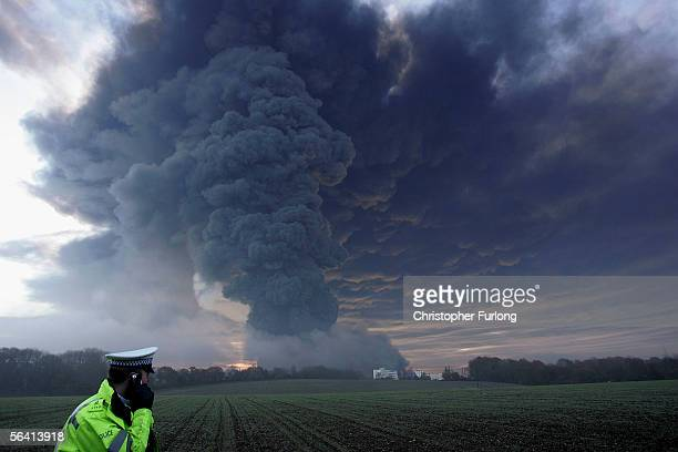 Plumes of smoke rising from Bruncefield oil depot on December 11 2005 in Hemel Hempstead EnglandThe explosions are being treated as accidental...