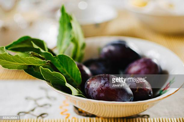 Plums for breakfast in Tuscany