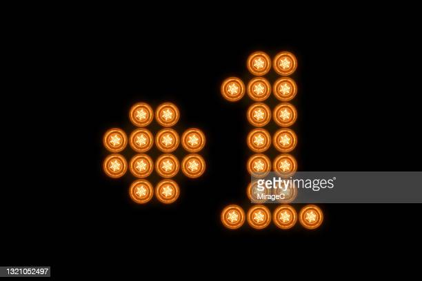plus one mark composed of illuminated light bulbs - marquer photos et images de collection