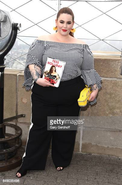 Plus size model and body positivity pioneer Tess Holliday poses on the Observation Deck at The Empire State Building on September 18 2017 in New York...