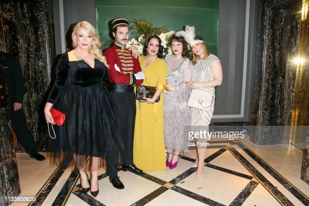 Plus size model and presenter Caterina Pogorzelski Miyabi Kawai blogger Vreni Frost Lift Boy and guest during the Ritz Carlton Berlin ReOpening Party...