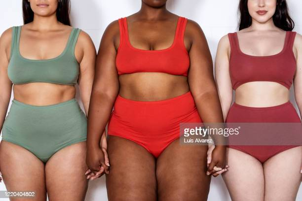 plus size women in lingerie standing together holding hands - femmes en culottes photos et images de collection