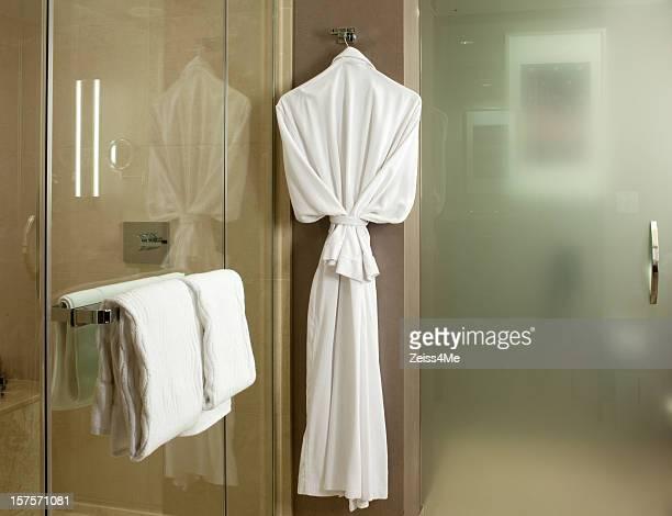 Plush bathrobe in upscale bathroom