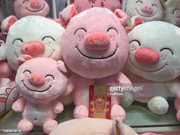 Plush pigs on display at a shop for the upcoming Spring Festival in Toronto Ontario Canada The Chinese lunar calendar assigns an animal symbol to...