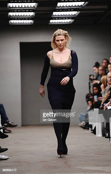 PlusSize model Hayley Morley walks down the catwalk during the Mark Fast Fashion Show at the Top Shop Venue as part of London Fashion Week on...