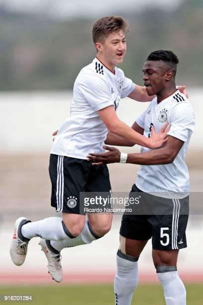 Plyers Angelo Stiller and Kevin Bukusu celebrate a goal uring U17Juniors Algarve Cup match between U17 Netherlands and U17 Germany at Lagos Stadium...