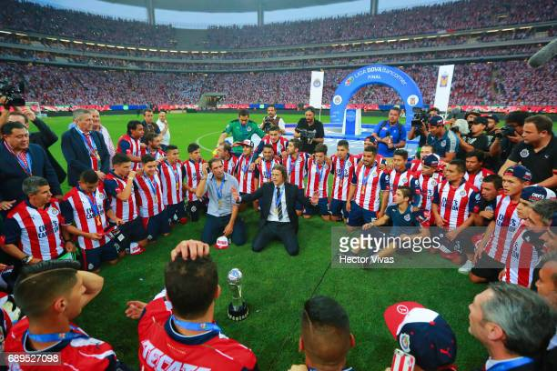 Plyers of Chivas pray after winning the Final second leg match between Chivas and Tigres UANL as part of the Torneo Clausura 2017 Liga MX at Chivas...