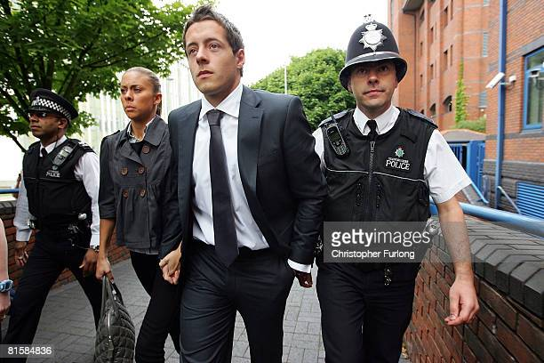 Plymouth Argyle footballer Luke McCormick arrives at StokeOnTrent Crown Court on June 16 2008 in StokeonTrent England McCormick is facing charges of...