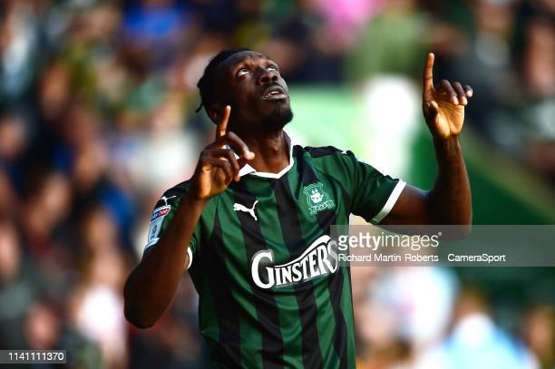 Plymouth Argyle's Freddie Ladapo celebrates scoring his side's second goal during the Sky Bet League One match between Plymouth Argyle and Scunthorpe...