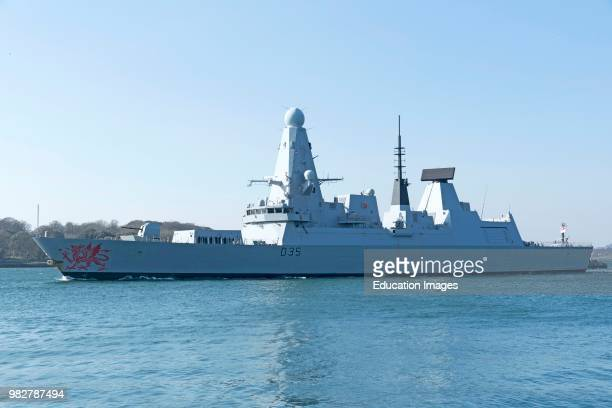 Plymouth Devon England UK HMS Dragon a type 45 Daring Class air defense destroyer departing Devonport
