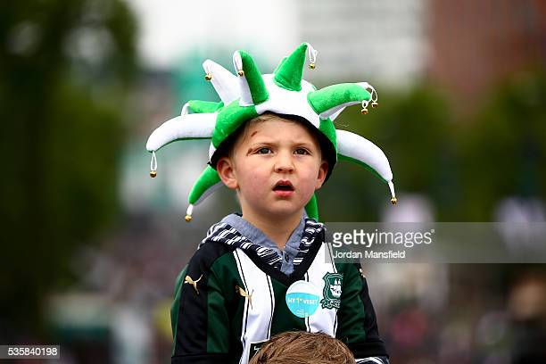 Plymouth fans make their way to the stadium ahead of the Sky Bet League Two Play Off Final match between Plymouth Argyle and AFC Wimbledon at Wembley...