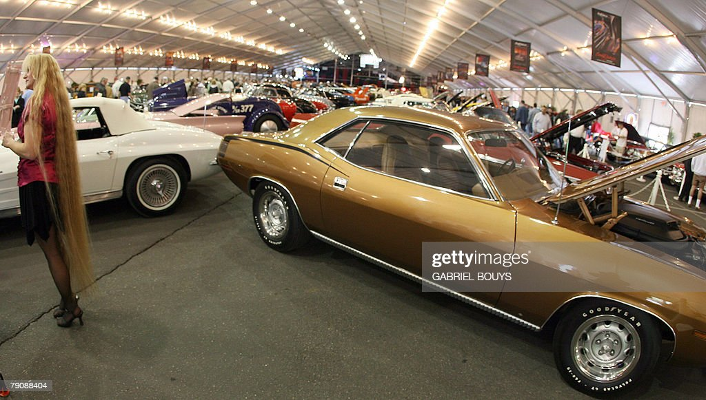 A Plymouth Hemi Cuda automobile is displayed during the 37th