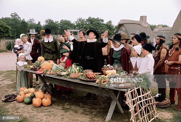 Before beginning their harvest festival we now call Thanksgiving the Pilgrims bless their food giving thanks to God for their successful harvest This...