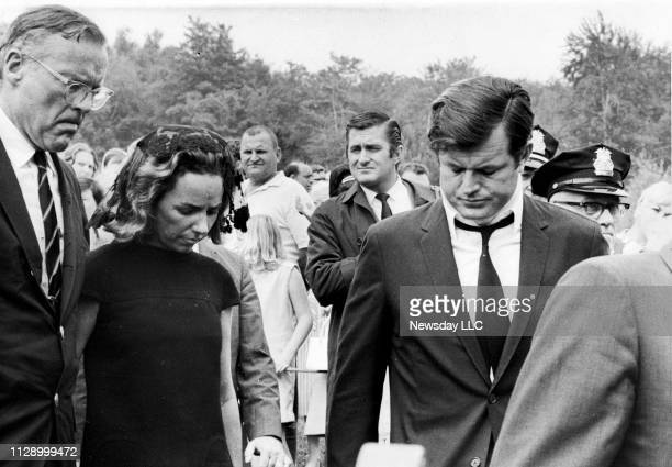 Senator Ted Kennedy wears a neck brace as he and his sisterinlaw Ethel Kennedy leave St Vincent's Roman Catholic Church in Plymouth Pennsylvania...