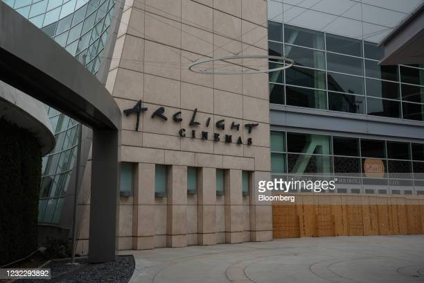 Plywood blocks the entrances to ArcLight Cinemas in Hollywood, California, U.S. On Tuesday, April 13, 2021. ArcLight Cinemas and Pacific Theatres,...