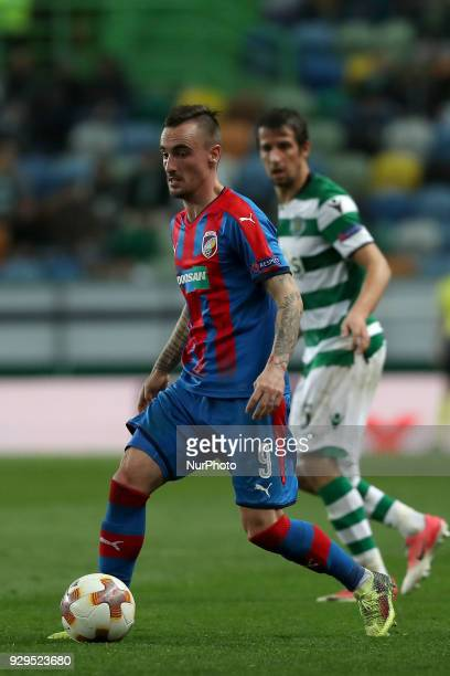 Plzen's midfielder Martin Zeman of Czech Republic in action during the UEFA Europa League round of 16 1st leg football match Sporting CP vs Viktoria...