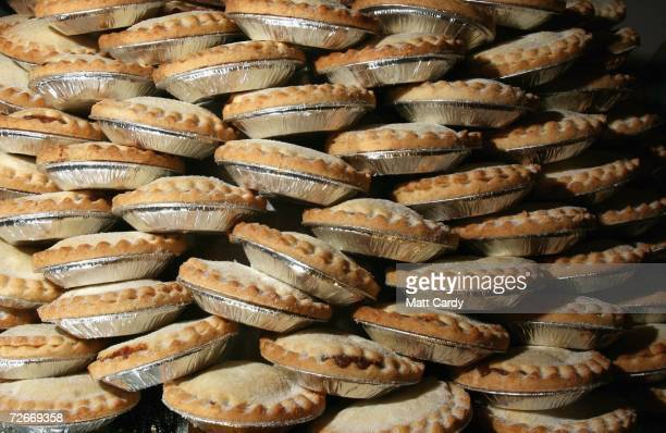 PMince pies wait to be eaten before the Wookey Hole Big Eat Mince Pie Eating Contest at the Wookey Hole Show Caves on November 29 2006 in Wookey Hole...