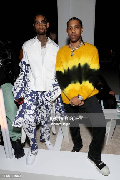PnB Rock and Reese LaFlare attend Palm Angels The Shows during New York Fashion Week on February 09 2020 in New York City