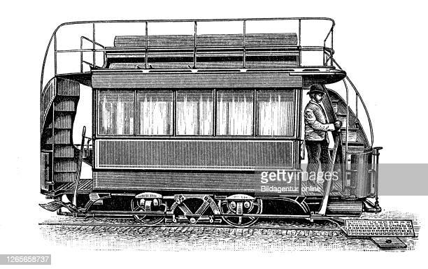 Pneumatic motor, air motor, or compressed air engine, compressed air tram at the filling station / Ein Druckluftmotor, ein Luftmotor oder ein...