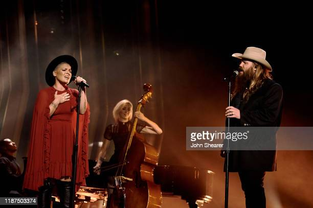 Nk and Chris Stapleton perform onstage during the 53rd annual CMA Awards at the Bridgestone Arena on November 13, 2019 in Nashville, Tennessee.