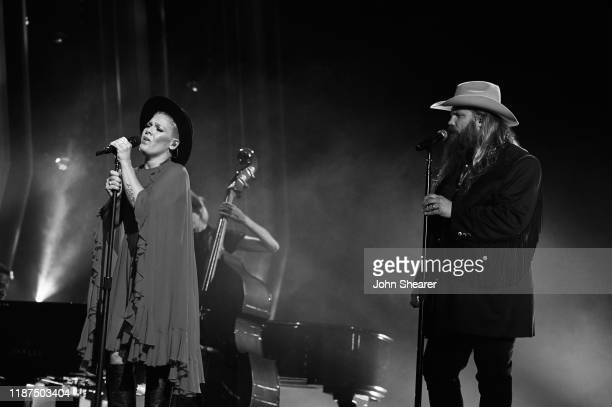 Pnk and Chris Stapleton perform onstage during the 53rd annual CMA Awards at the Bridgestone Arena on November 13 2019 in Nashville Tennessee