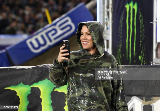 Nk attends the Monster Energy Supercross VIP Event at Angel Stadium on January 18, 2020 in Anaheim, California.