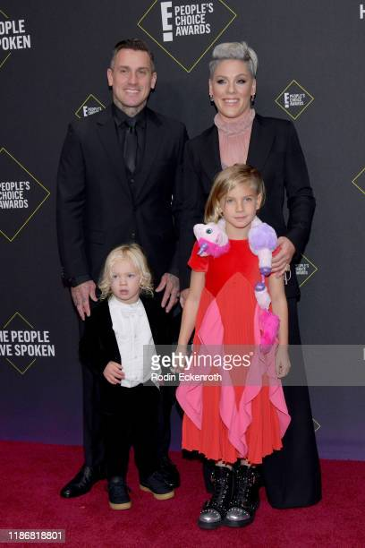 Pnk Carey Hart Jameson Moon Hart Willow Sage Hart attend the 2019 E People's Choice Awards at Barker Hangar on November 10 2019 in Santa Monica...