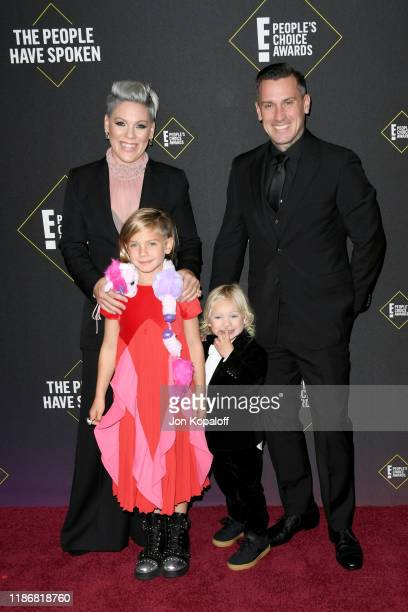 Pnk Carey Hart Willow Sage Hart Jameson Moon Hart attend the 2019 E People's Choice Awards at Barker Hangar on November 10 2019 in Santa Monica...