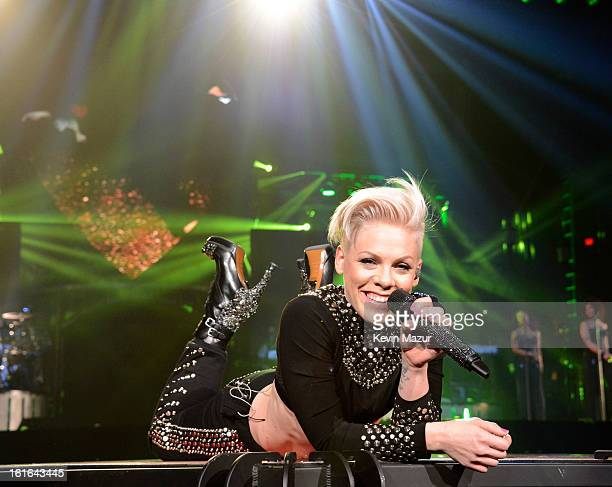Pnk performs during The Truth About Love tour opener at US Airways Center on February 13 2013 in Phoenix Arizona