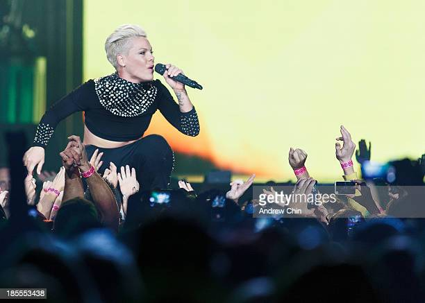 Nk performs her 'The Truth About Love Tour' at Rogers Arena on October 21, 2013 in Vancouver, Canada.