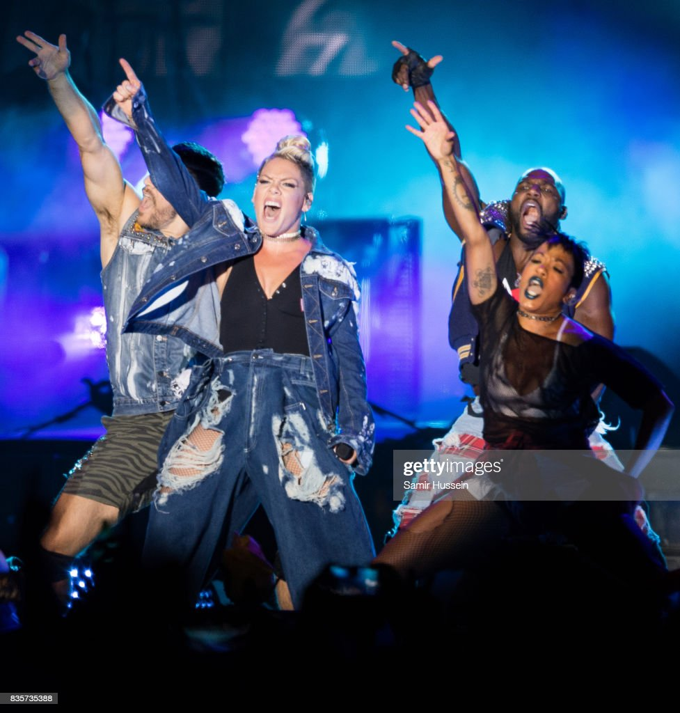 P!nk performs live on stage during V Festival 2017 at Hylands Park on August 19, 2017 in Chelmsford, England.