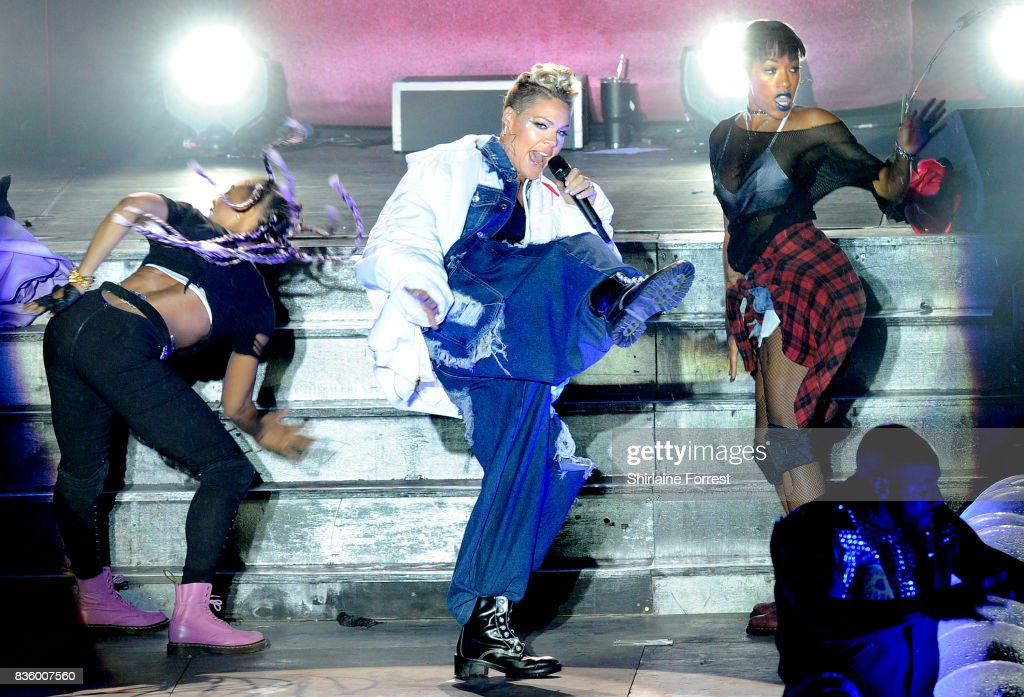 P!nk performs live on stage headlining V Festival 2017 at Weston Park on August 20, 2017 in Stafford, England.