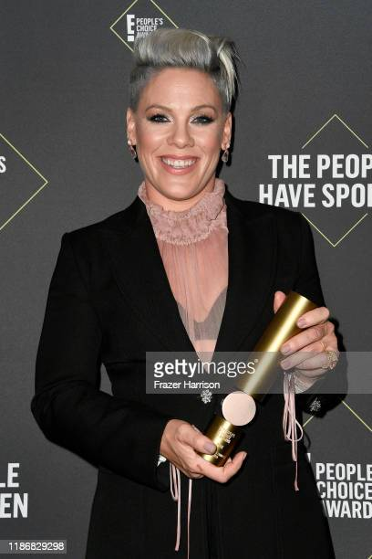 Pnk winner of People's Champion Award poses in the press room during the 2019 E People's Choice Awards at Barker Hangar on November 10 2019 in Santa...