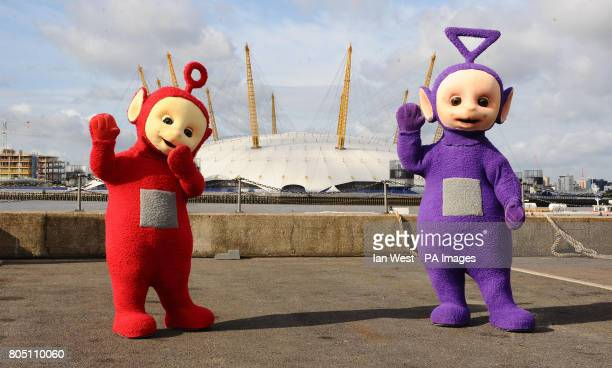 Po and Tinky Winky of the Teletubbies close to the O2 Arena London
