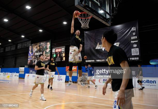 Po Chen Chou of Yulon Luxgen Dinos practices prior to the SBL Finals Game Six between Taiwan Beer and Yulon Luxgen Dinos at Hao Yu Trainning Center...