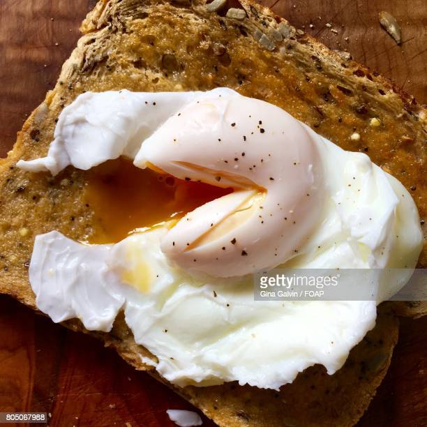 Poached baked egg food