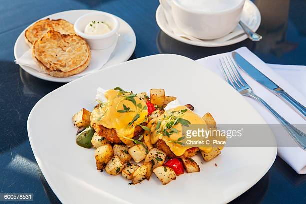Poached eggs over crab cakes