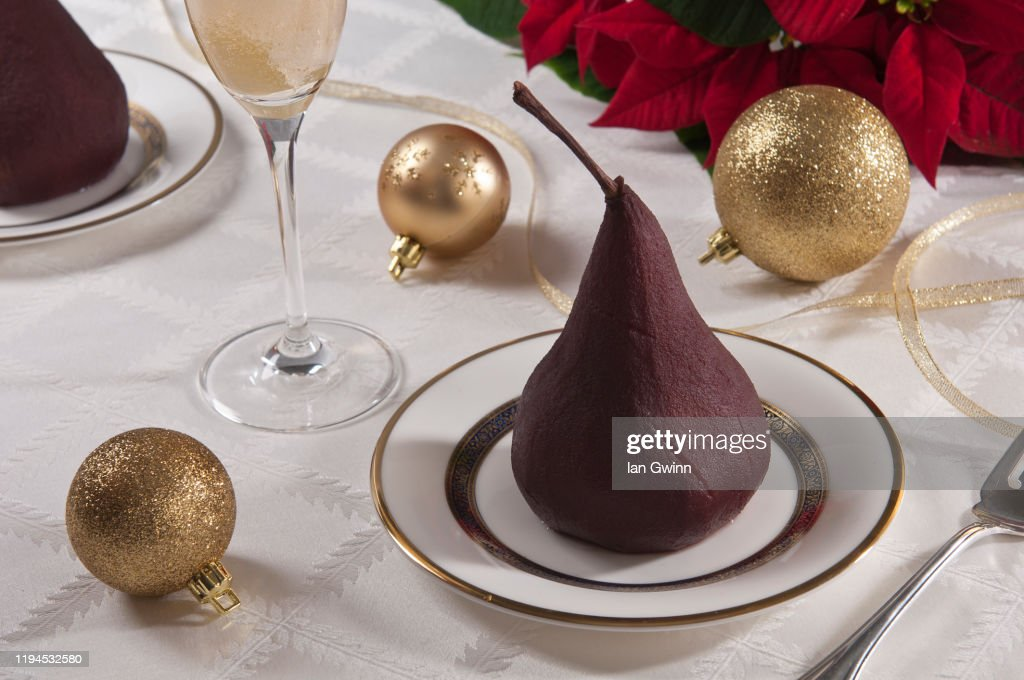 Poached Pear and Champagne : Stock Photo