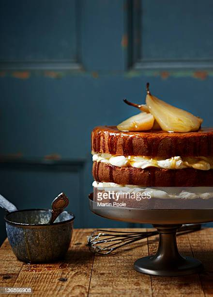 poached pear and cream layered cake