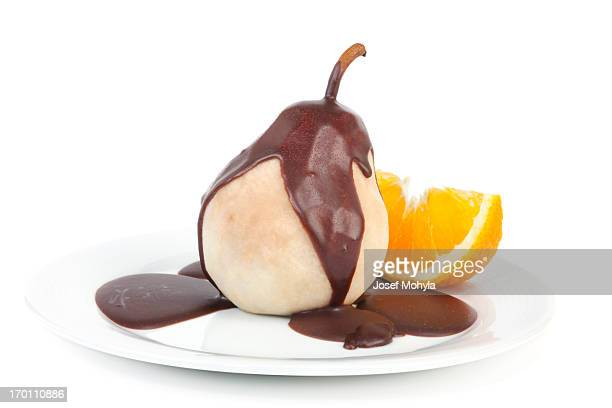 Poached pear with chocolate icing