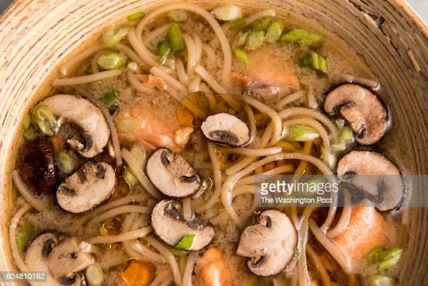 Poached Salmon Soup With Udon and Mushrooms