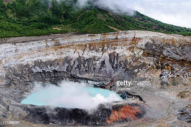 poas volcano crater, costa rica - ogphoto stock pictures, royalty-free photos & images