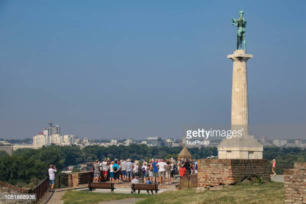 Pobednik Monument in Belgrade Serbia located on the hill fortress of Kalemegdan It honors the victorious armies of Serbia during their struggles...