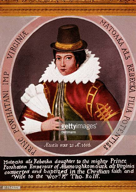 Pocahontas American Indian princess daughter of Powhatan married John Rolfe colonist Head and shoulders portrait ca 1616 Illustration