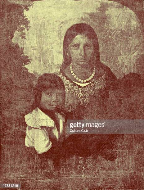 Pocahontas and Thomas Rolfe in the Sedgeford Portrait reproduced in 1887 Pocahontas daughter of Chief Powhatan aided the English settlers at...
