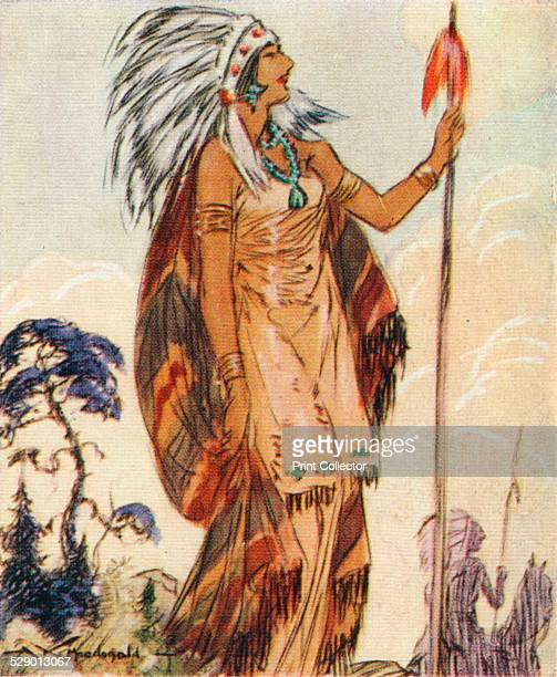 Pocahontas Portrait of the Native American chief's daughter who saved John Smith leader of the Virginia colonists from being executed by her father...