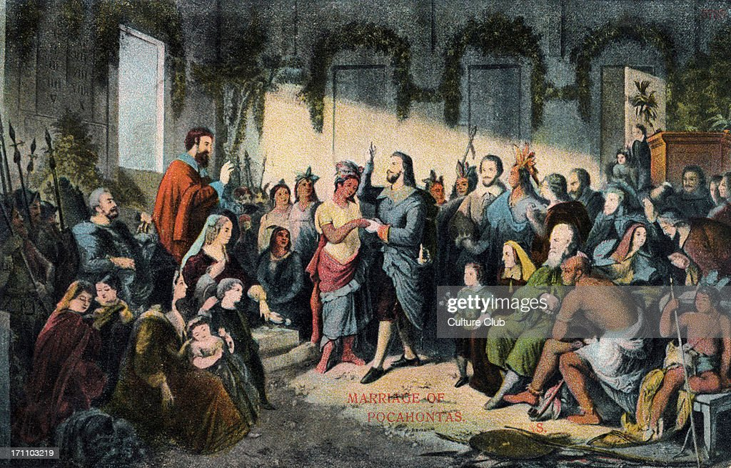 Pocahontas (later Rebecca Rolfe) - the Native American 's marriage to the Englishman John Wolfe, 5 April 1614. : News Photo